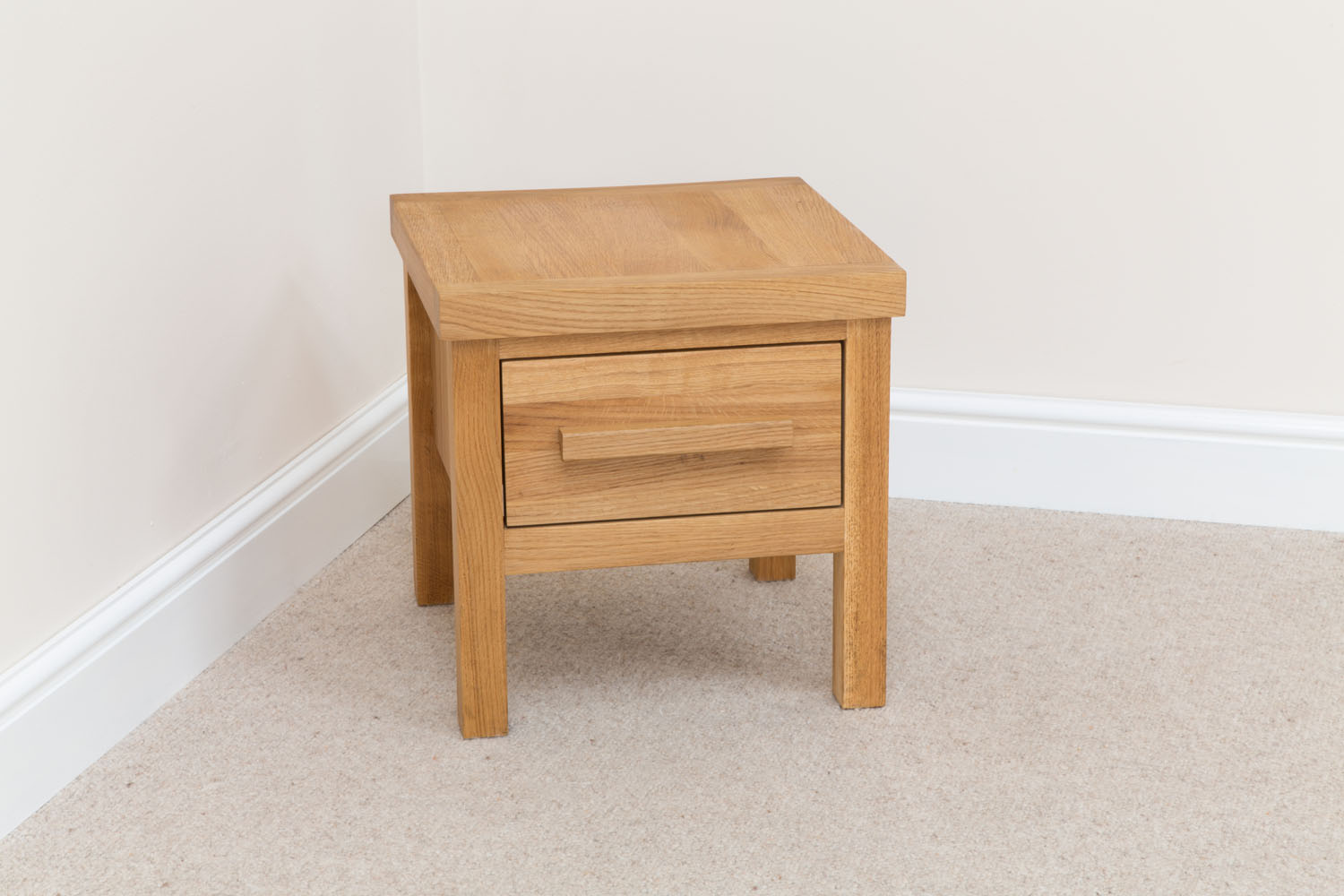 Baltic 40cm square small oak lamp table with drawer small lamp table aloadofball Images