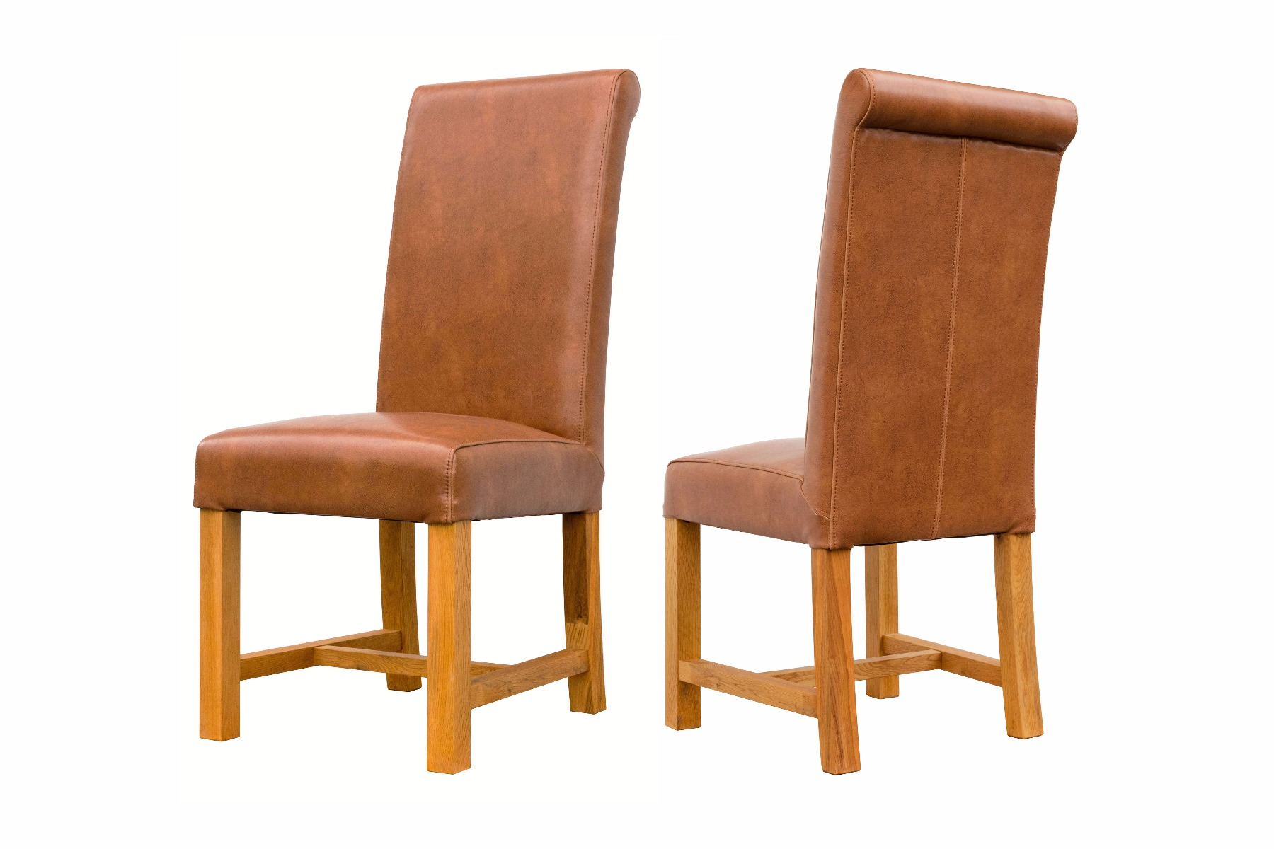 Oak Dining Chairs with Leather Cover