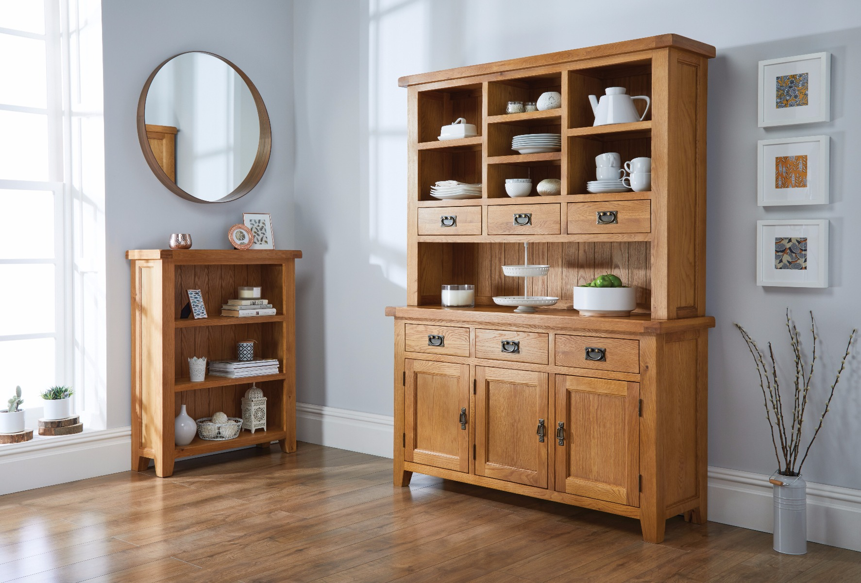 Large Rustic Oak Dresser Display Unit From TopFurniture