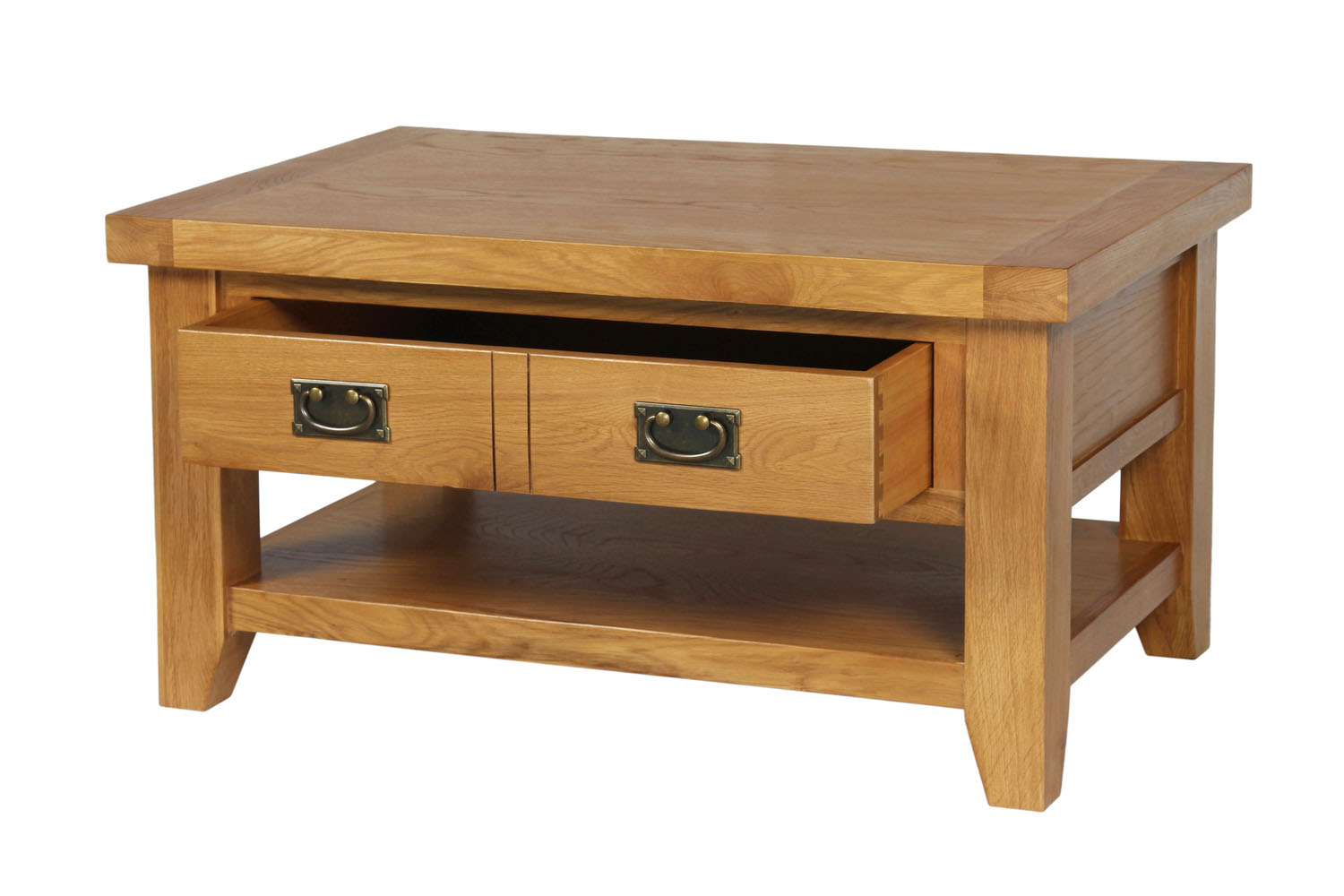 Country oak coffee table with drawer shelf geotapseo Image collections