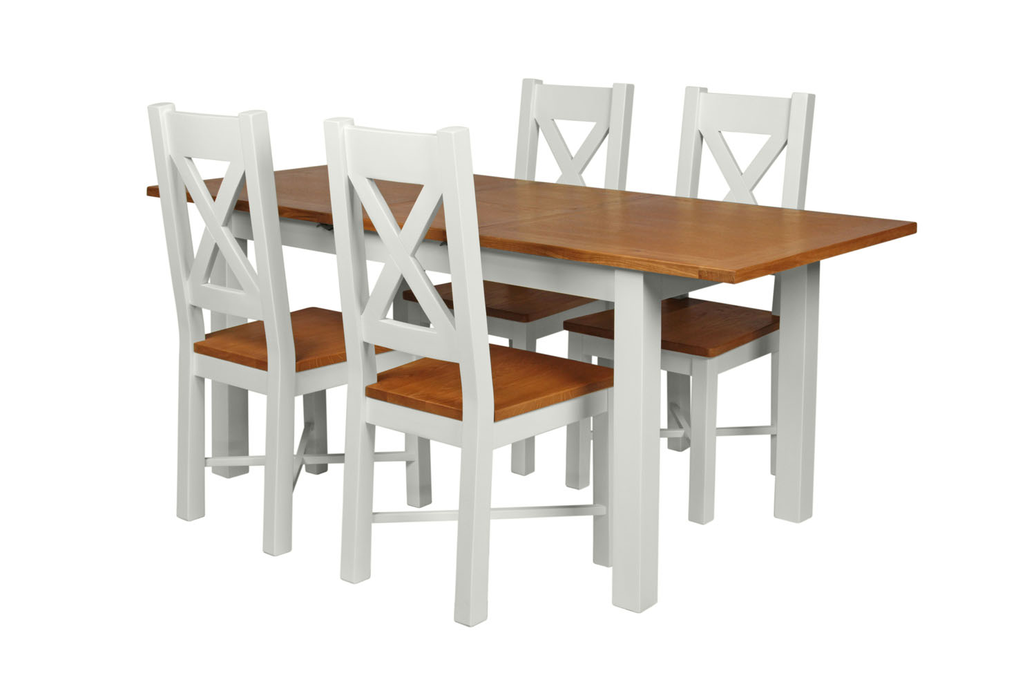 Country Oak 180cm Grey Painted Extending Dining Table U0026 4 Grasmere Grey  Painted Chairs