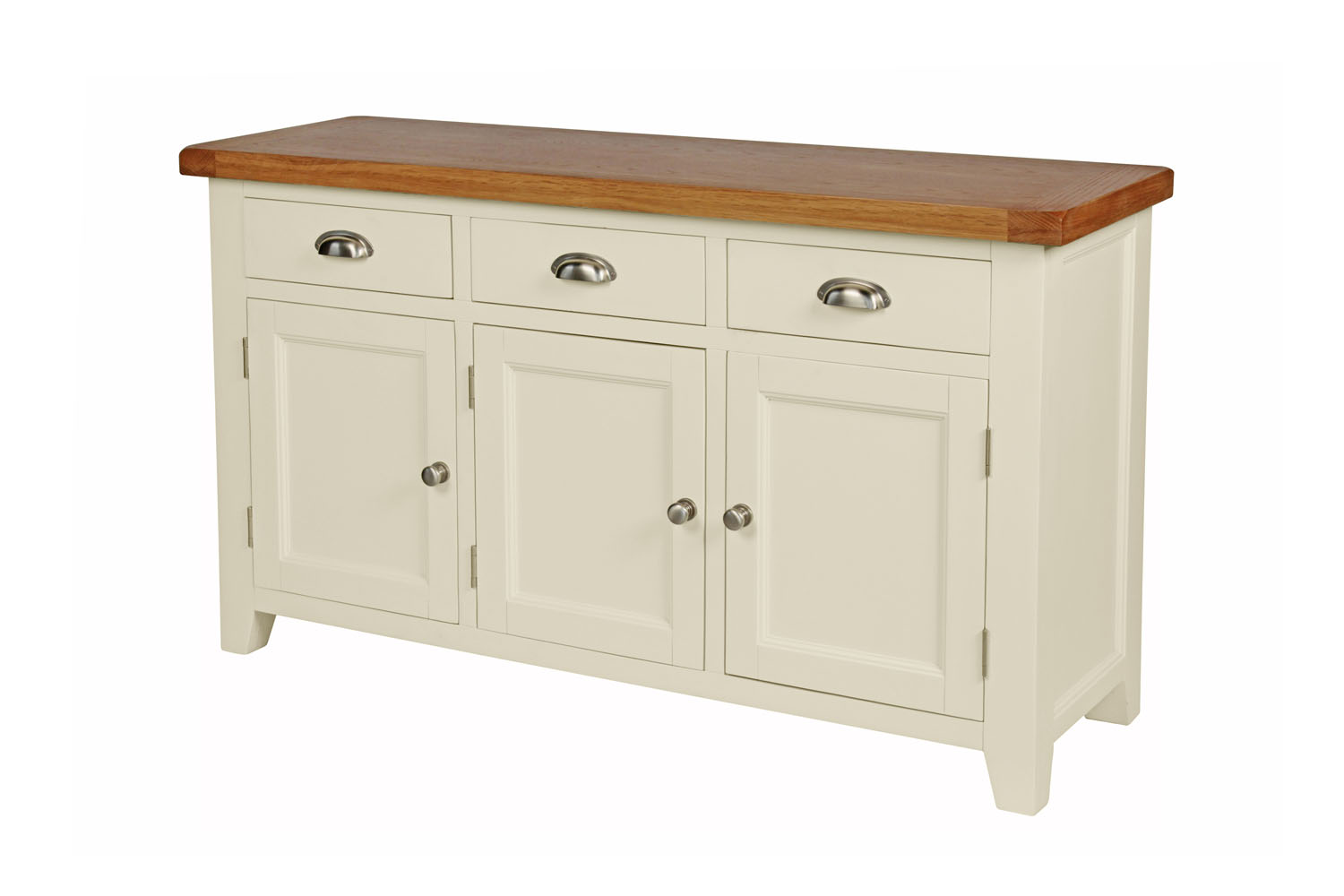 Country Cottage 140cm Cream Painted Large Oak Sideboard Part 57