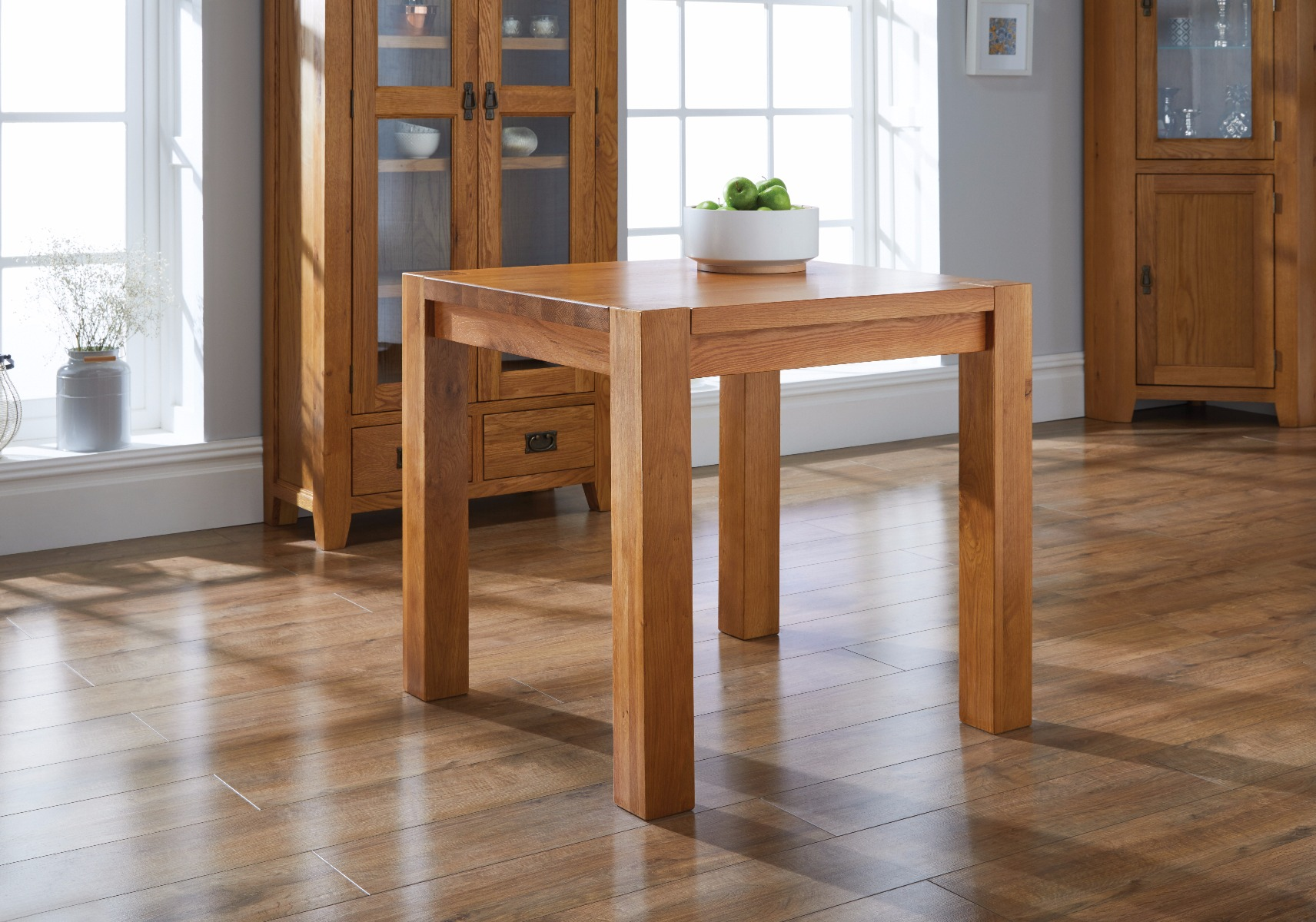 Country Oak 80cm Square Chunky Corner Leg Dining Table