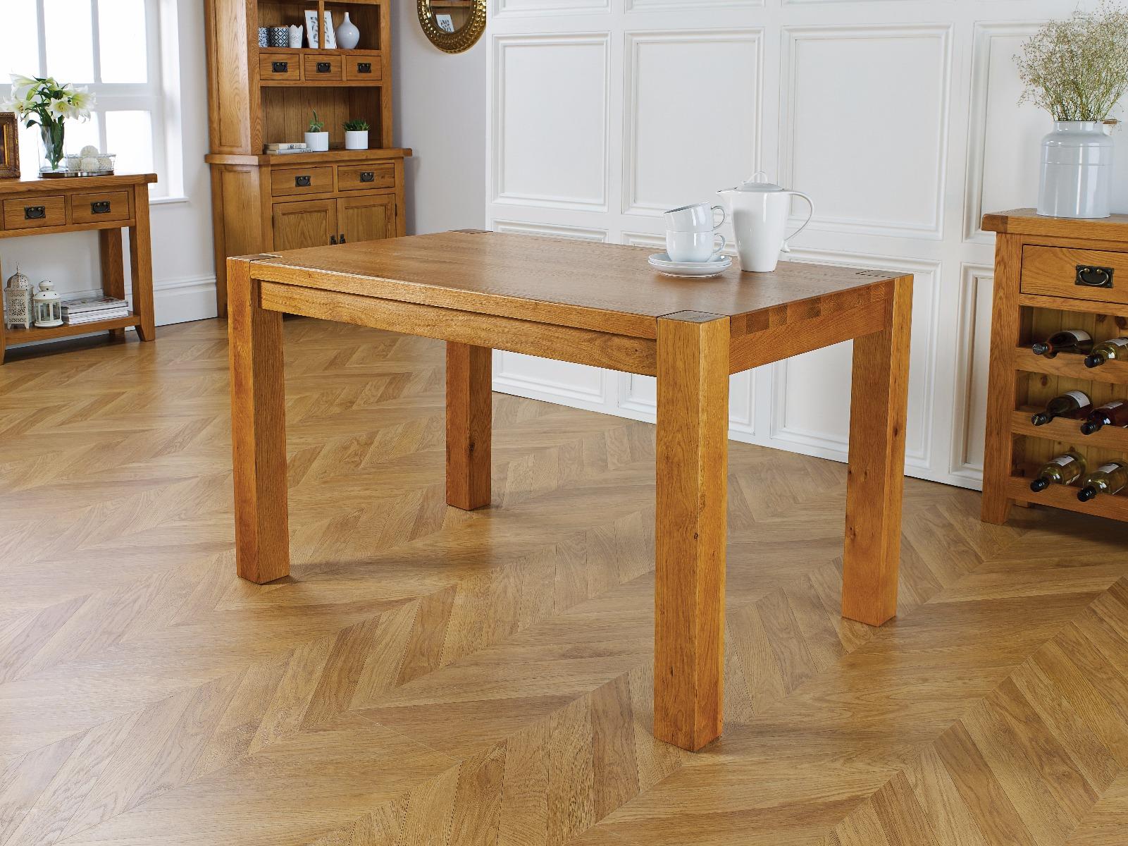 solid oak 130cm chunky corner leg country oak dining table