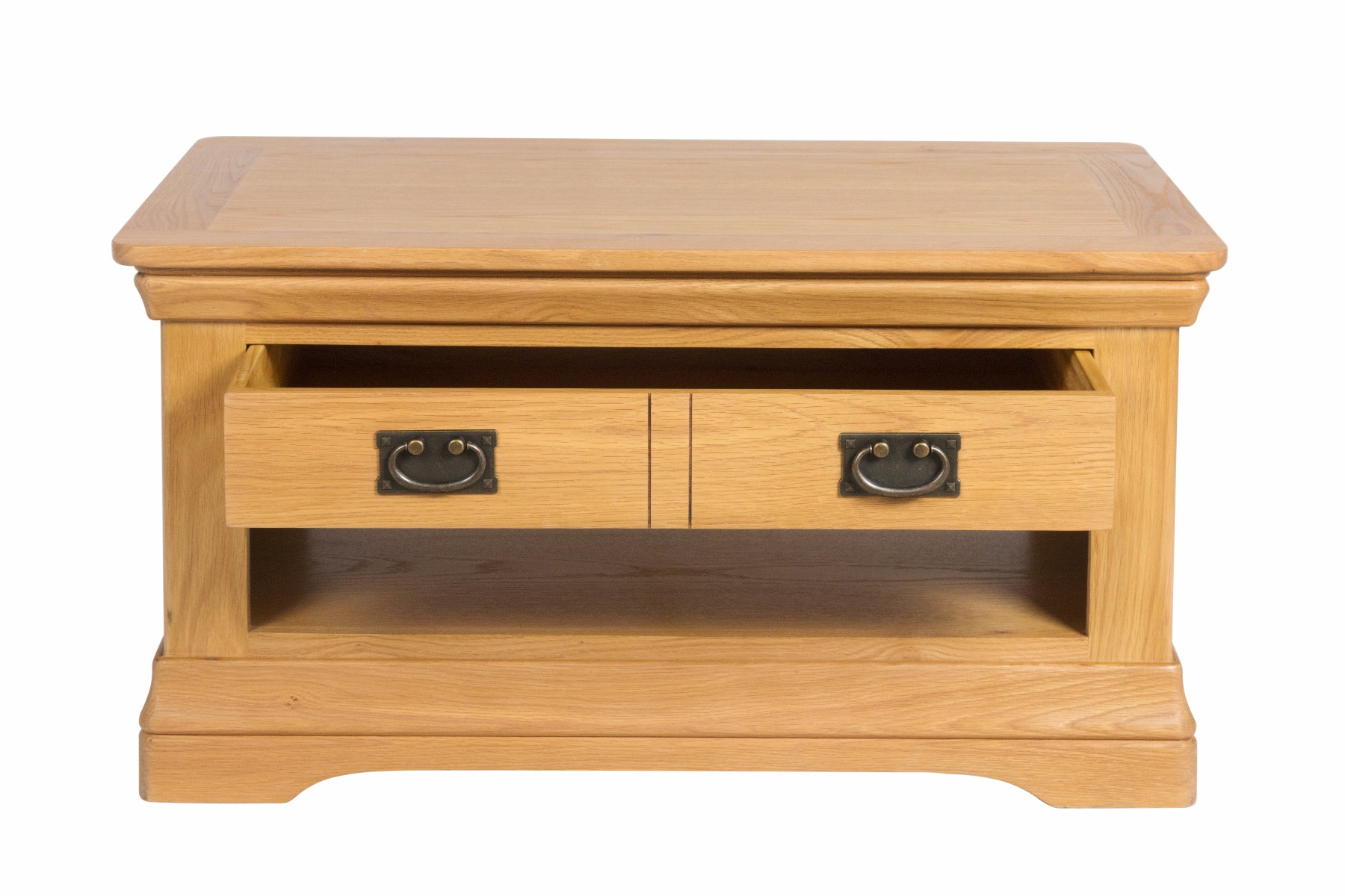 Farmhouse Oak Coffee Table with Drawer and Shelf