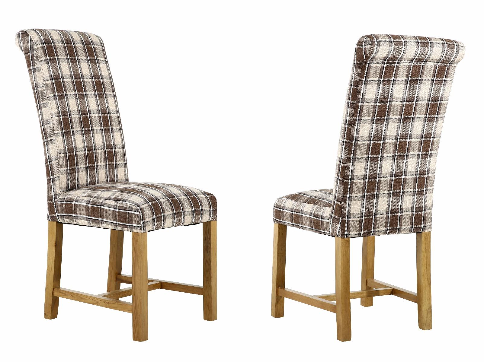 Harrogate Check Brown Herringbone Fabric Dining Chair with Oak Legs