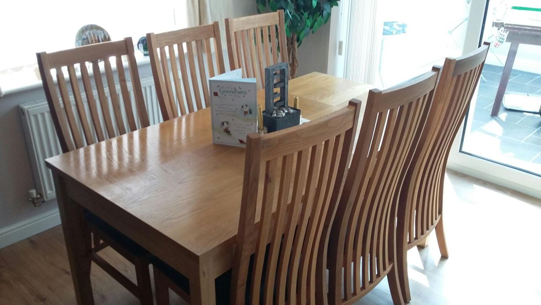 Lichfield Solid Oak Chair Dark Brown Leather Seat