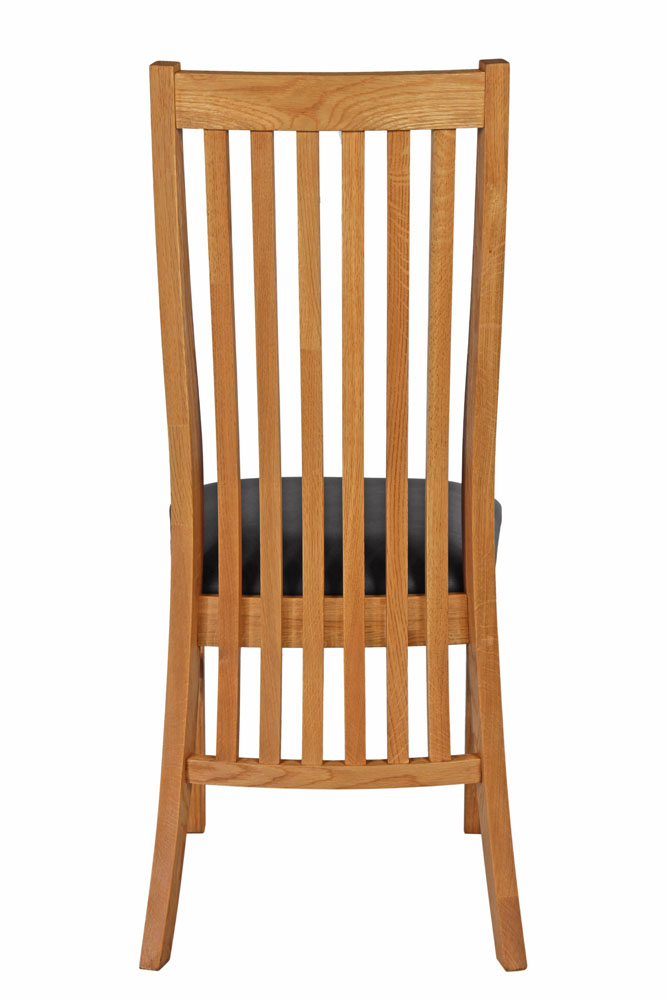 Lichfield Solid Oak Dining Room Chair With Black Leather Pad