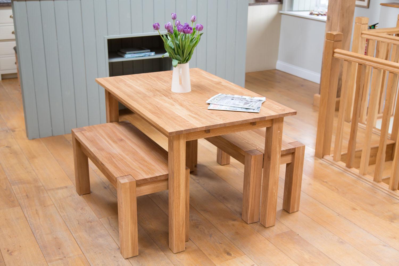 Oak Bench Dining Set Minsk 1.2m Solid Oak Table And 2 95cm Baltic Corner Leg