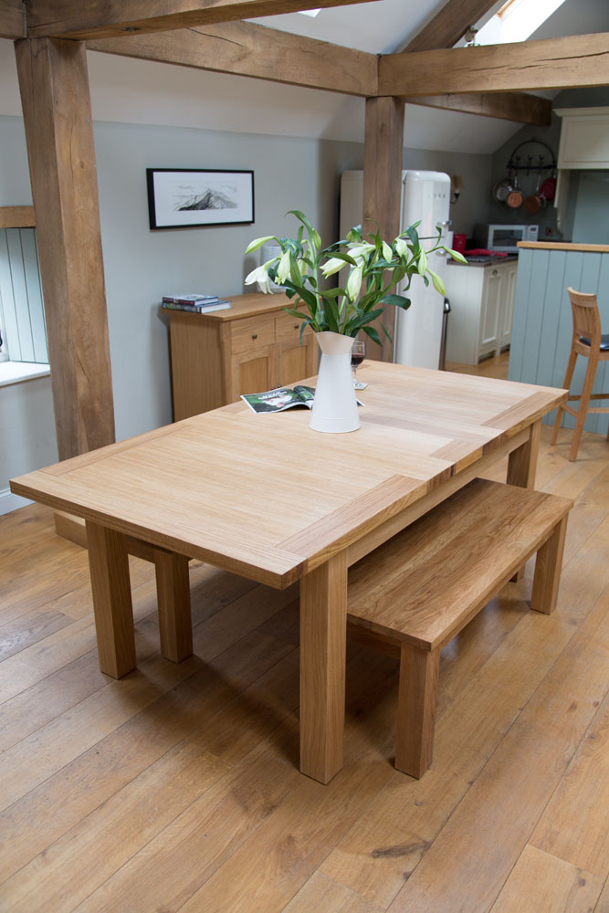Butterfly Extending Oak Table U0026 Bench Dining Room Set From  TopFurniture.co.uk